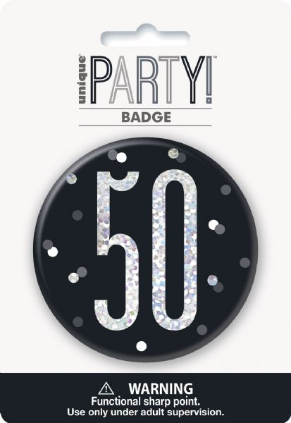 Glitz Black Age 50 Badge